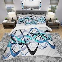 Designart 'Blue and Silver Helix' Modern & Contemporary Bedding Set - Duvet Cover & Shams