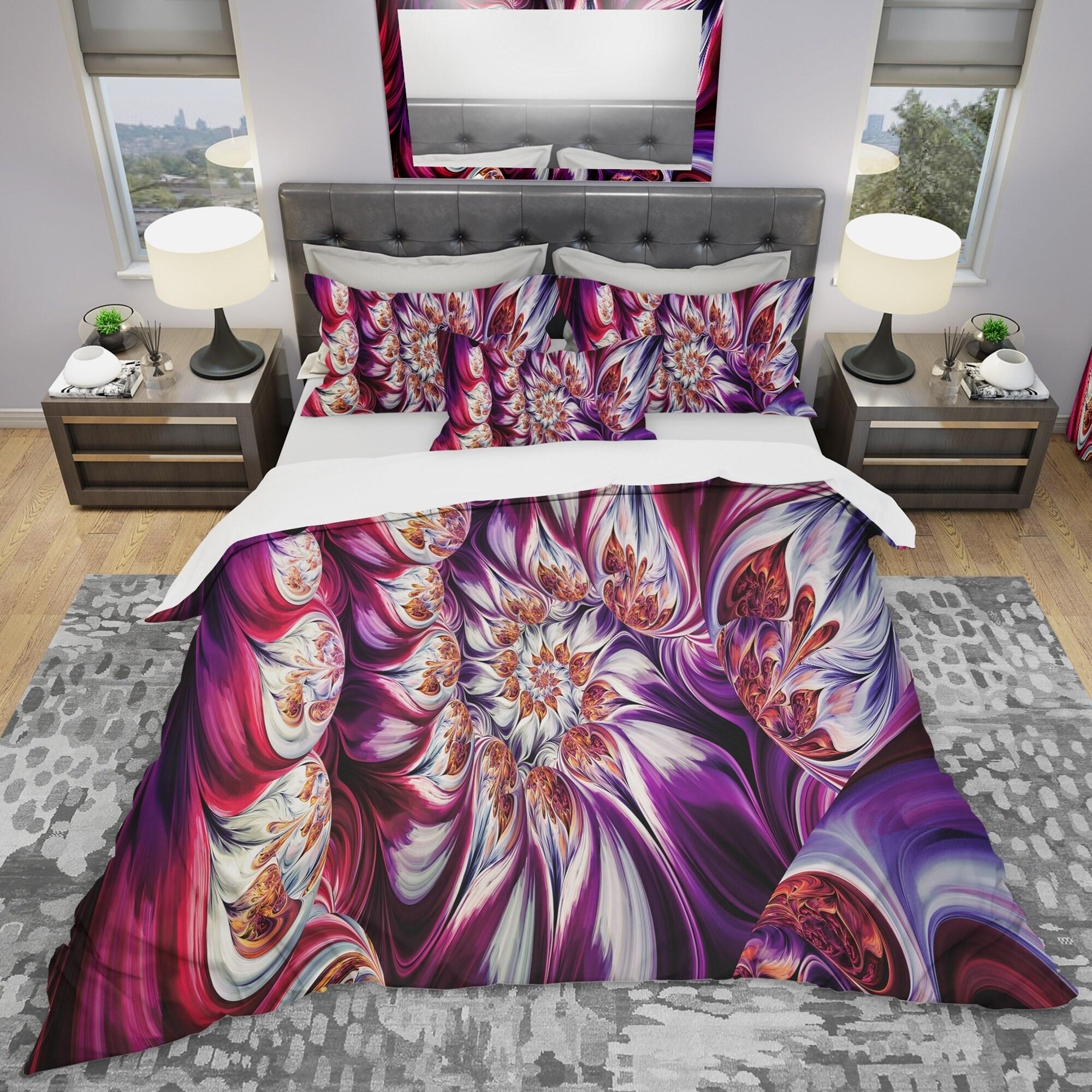 designart 39 lavender floral pyramid 39 modern contemporary bedding set duvet ebay. Black Bedroom Furniture Sets. Home Design Ideas