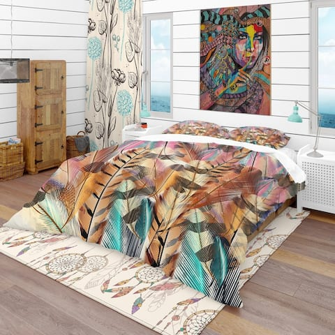 Designart 'Tiger Patterned Boheman Feathers' Southwestern Bedding Set - Duvet Cover & Shams