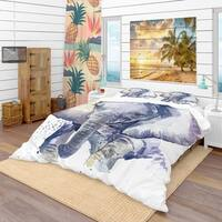 Designart 'Baby Elephant Blue Watercolor' Tropical Bedding Set - Duvet Cover & Shams