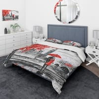 Designart 'Couples Walking in Paris' London UK Bedding Set - Duvet Cover & Shams