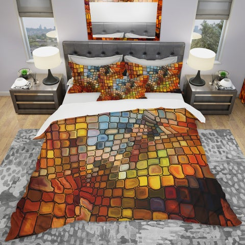 Designart 'Dreaming of Stained Glass' Modern & Contemporary Bedding Set - Duvet Cover & Shams