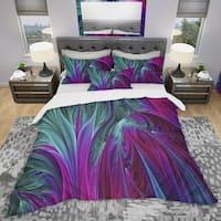 Designart 'Purple and Green Jungle' Modern & Contemporary Bedding Set - Duvet Cover & Shams