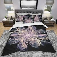 Designart 'Blue Fractal Flower Petals' Modern & Contemporary Bedding Set - Duvet Cover & Shams
