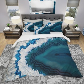 Designart 'Blue Brazilian Geode' Modern & Contemporary Bedding Set - Duvet Cover & Shams