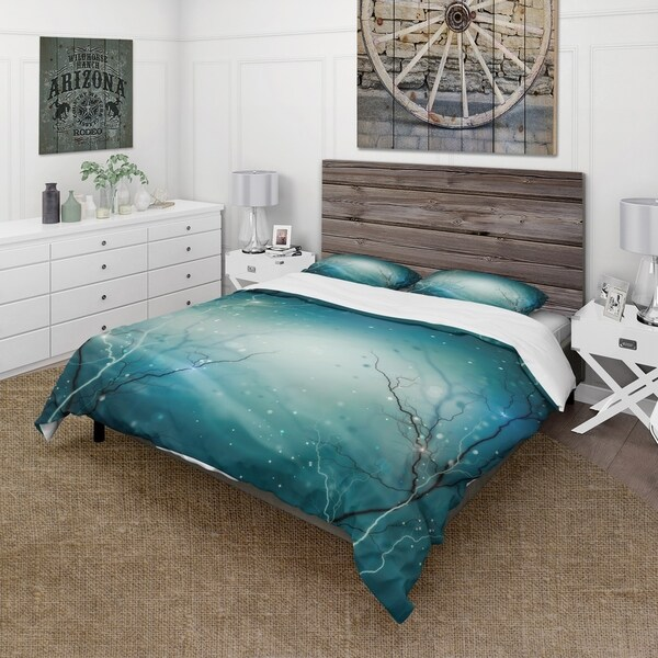 Designart 'Blue Winter Fantasy Forest' Cabin & Lodge Bedding Set - Duvet Cover & Shams