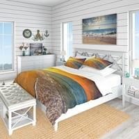 Designart 'Fantastic Yellow Sky in Blue Beach' Coastal Bedding Set - Duvet Cover & Shams
