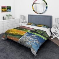 Designart 'Four Seasons Trees Collage' Traditional Bedding Set - Duvet Cover & Shams