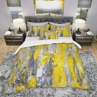 Designart 'Grey and Yellow Abstract Pattern' Modern & Contemporary Bedding Set - Duvet Cover & Shams