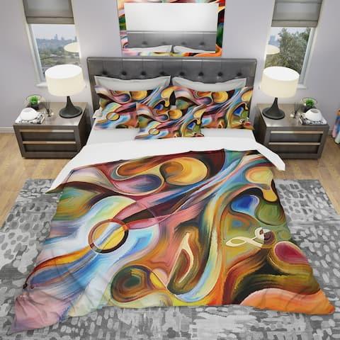 Designart 'Music Beyond The Frames' Modern & Contemporary Bedding Set - Duvet Cover & Shams
