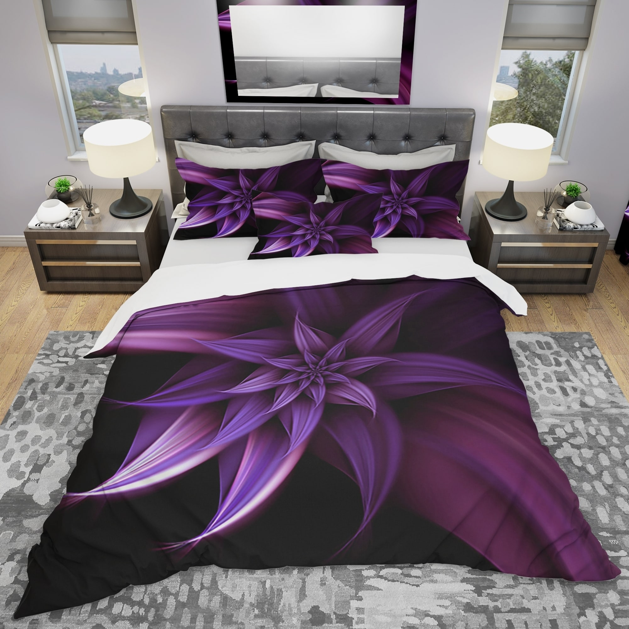 Designart Fractal Flower Purple