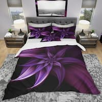 Designart 'Fractal Flower Purple' Modern & Contemporary Bedding Set - Duvet Cover & Shams
