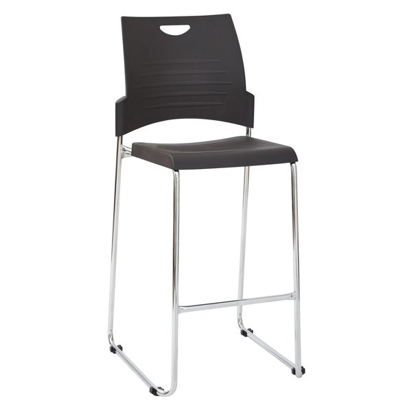 Tall Black Stacking and Ganging Chair 4-Pack
