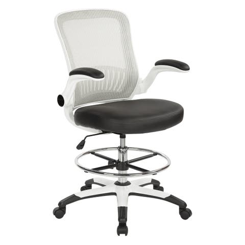 Work Smart Mesh Back Drafting Chair with Black Faux Leather Seat and Adjustable Footring
