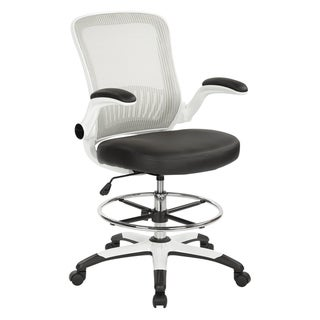 Mesh Back Drafting Chair with Black Faux Leather Seat and Adjustable Footring