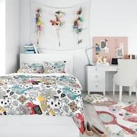Designart 'Whales Pattern' Teen Bedding Set - Duvet Cover & Shams