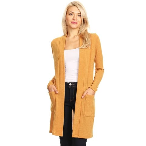 Women's Casual Knee Length Duster Cardigan with Side Pockets