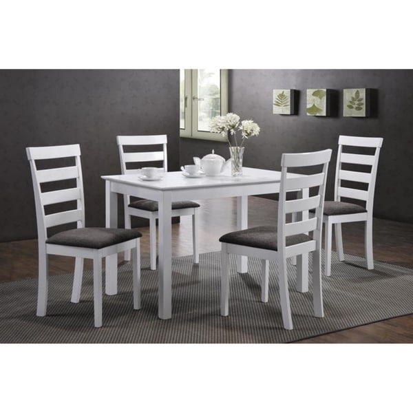 White And Black Dining Set: Shop Indoor Black And White Ladder-Back 5pc Dining Set