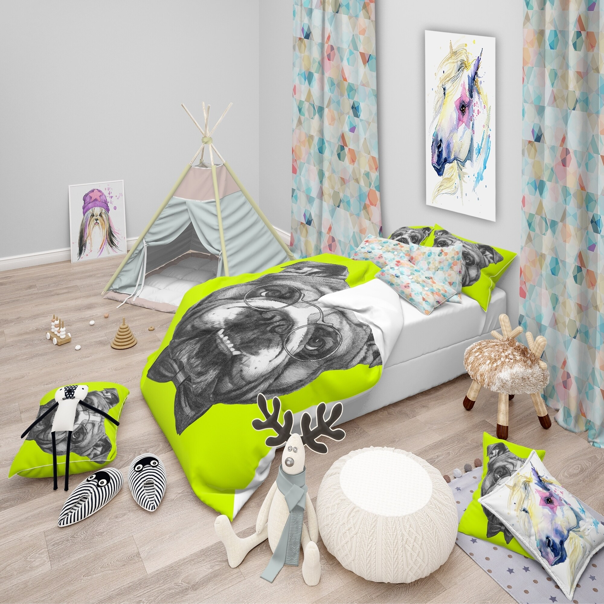 english bulldog bed sheets