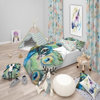 Designart - Larger Peacock Watercolor - Modern kids Duvet Cover Set