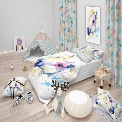 Designart 'Horse Illustration with Splash' Modern & Contemporary Bedding Set - Duvet Cover & Shams
