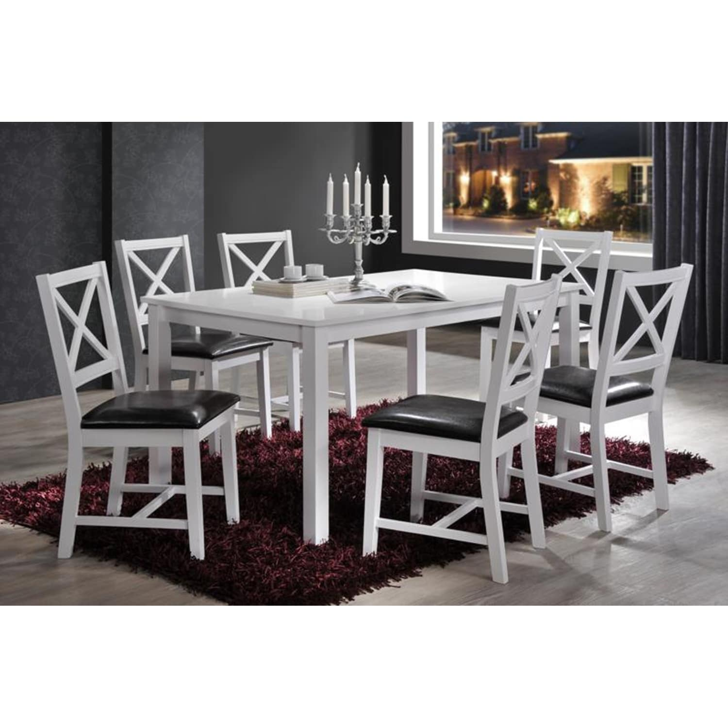 Shop Indoor White and Black Cross-Back 7pc Dining Set with a Solid