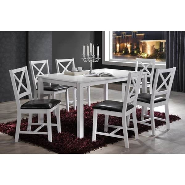 Black Cross Back 7pc Dining Set