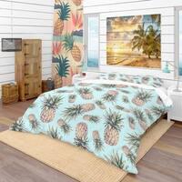 Designart 'Pineapples on a Light Blue Background' Tropical Bedding Set - Duvet Cover & Shams
