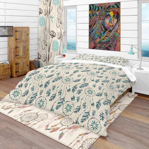 Designart 'Pattern with Indian-American Dream Catcher' Southwestern Bedding Set - Duvet Cover & Shams