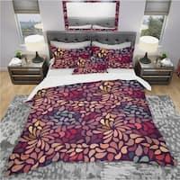 Designart 'Abstract Floral Pattern' Bohemian & Eclectic Bedding Set - Duvet Cover & Shams