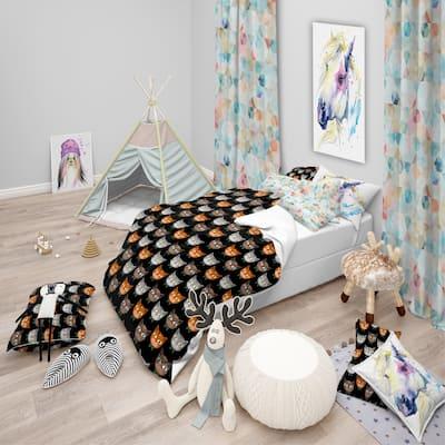 Designart 'Cute Cats Pattern' Modern kids Bedding Set - Duvet Cover & Shams
