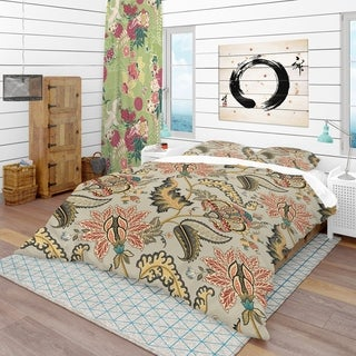 Designart - Vintage Indian Floral Pattern - Tropical Duvet Cover Set