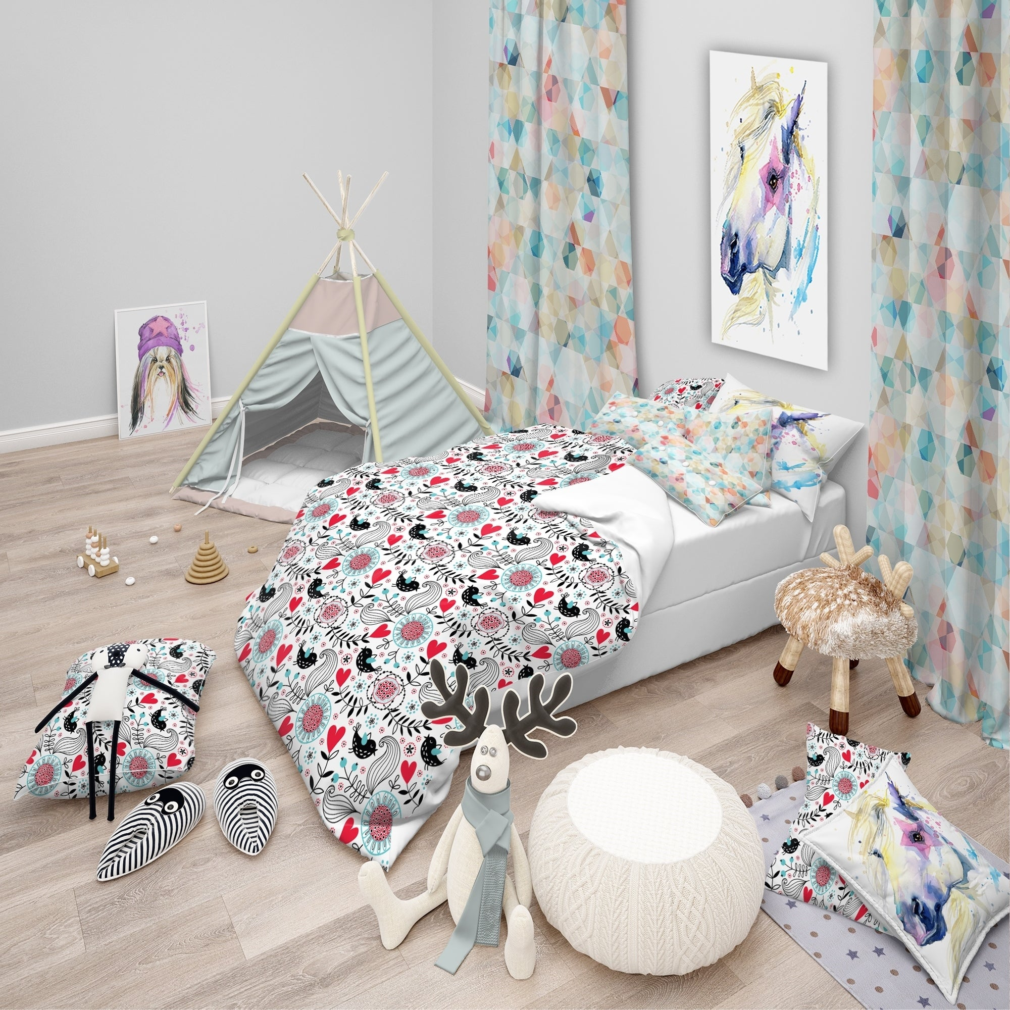 Designart Romantic Floral Pattern Modern Kids Bedding Set Duvet