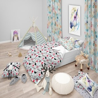 Designart - Romantic Floral Pattern - Modern Kids Duvet Cover Set