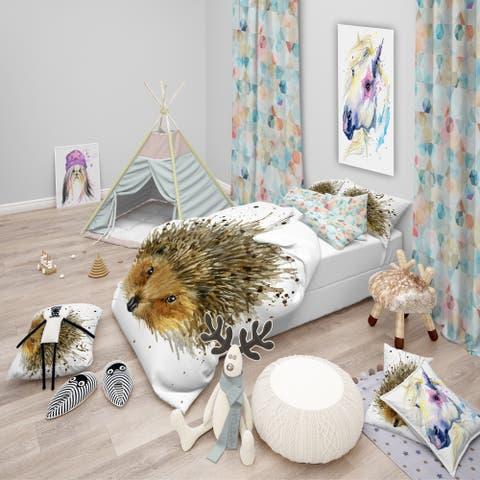 Designart 'Hedgehog Illustration Watercolor' Modern & Contemporary Bedding Set - Duvet Cover & Shams