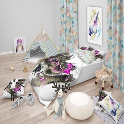 Designart 'Funny Black Cat Illustration' Modern & Contemporary Bedding Set - Duvet Cover & Shams