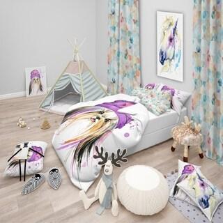 Designart - Stylish Puppy with Purple Hat - Modern & Contemporary Duvet Cover Set