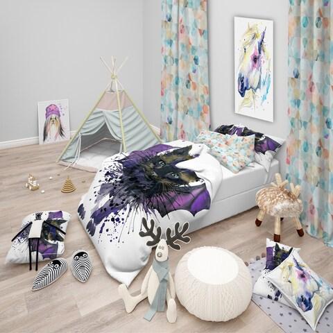 Designart 'Black Cat with Blue Wings' Modern & Contemporary Bedding Set - Duvet Cover & Shams