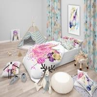 Designart 'Sweet Pink Dog with Glasses' Modern & Contemporary Bedding Set - Duvet Cover & Shams