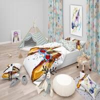 Designart 'Funny Brown Dog with Glasses' Modern & Contemporary Bedding Set - Duvet Cover & Shams