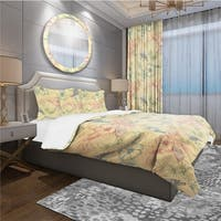 Designart 'Spring Pattern with Butterflies on Flowers' Modern & Contemporary Bedding Set - Duvet Cover & Shams
