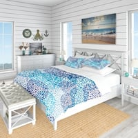 Designart 'Sea Motif Pattern' Nautical & Coastal Bedding Set - Duvet Cover & Shams