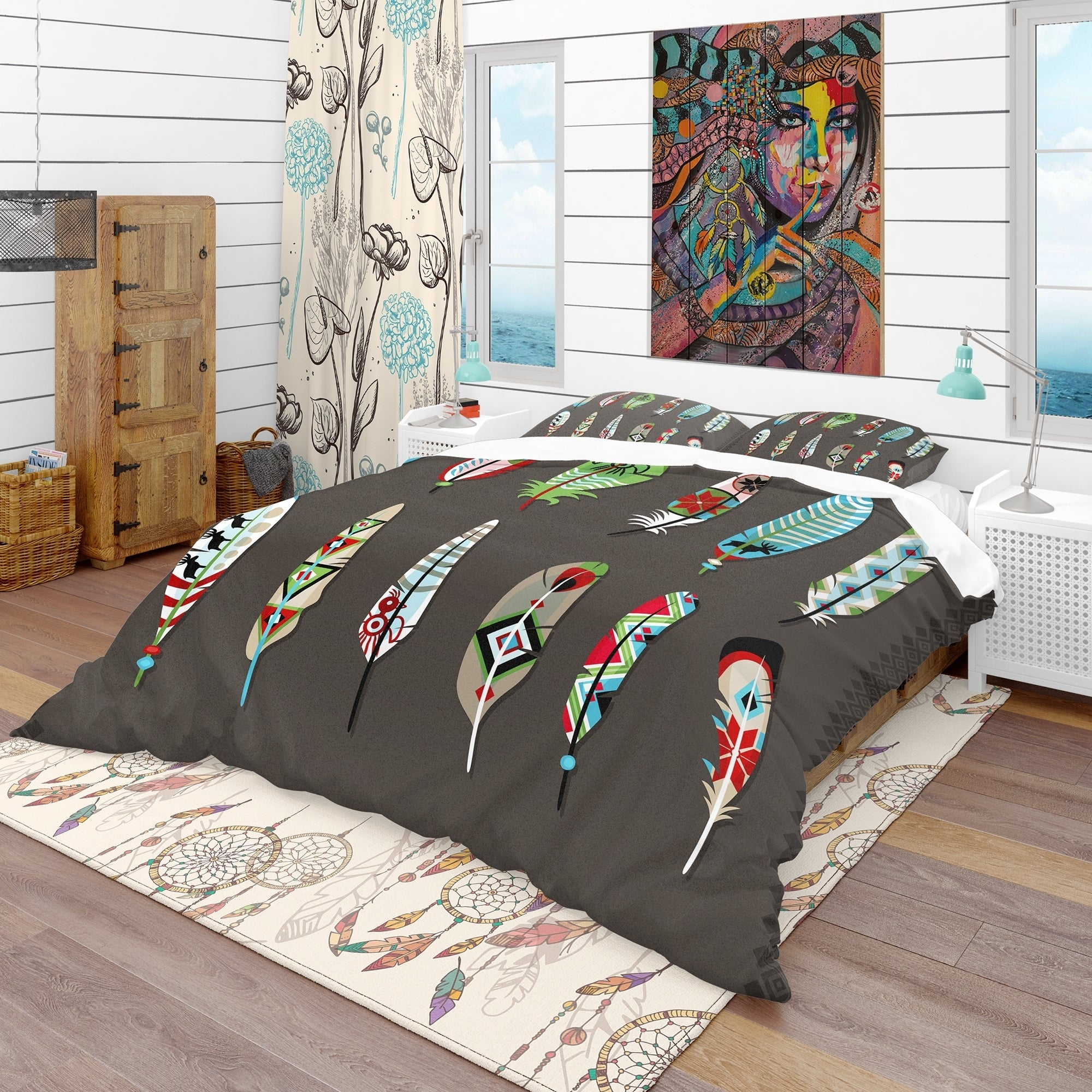 Designart Feathers Painted With Colorful Ethnic Pattern Southwestern Bedding Set Duvet Cover Shams Overstock 23506809