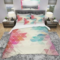 Designart 'Colorful Abstract Geometric Pattern' Modern Bedding Set - Duvet Cover & Shams
