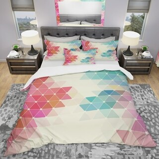 Designart - Colorful Abstract Geometric Pattern - Modern Duvet Cover Set
