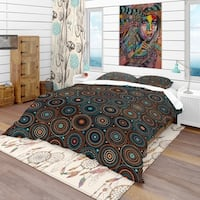 Designart 'Ethnic Geometric Pattern' Bohemian & Eclectic Bedding Set - Duvet Cover & Shams
