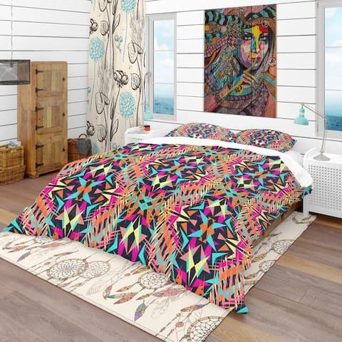 Designart 'Electro Boho Color Trend' Bohemian & Eclectic Bedding Set - Duvet Cover & Shams