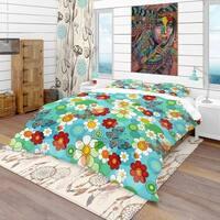 Designart 'Vivid Blue Floral Pattern' Bohemian & Eclectic Bedding Set - Duvet Cover & Shams