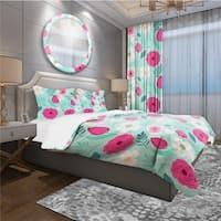 Designart 'Rustic Flowers and Leaves' Modern & Contemporary Bedding Set - Duvet Cover & Shams