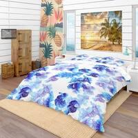 Designart 'Abstract Leaves Pattern' Tropical Bedding Set - Duvet Cover & Shams